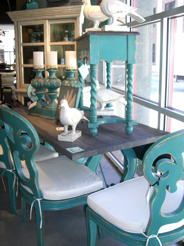 Teal dining table and chairs