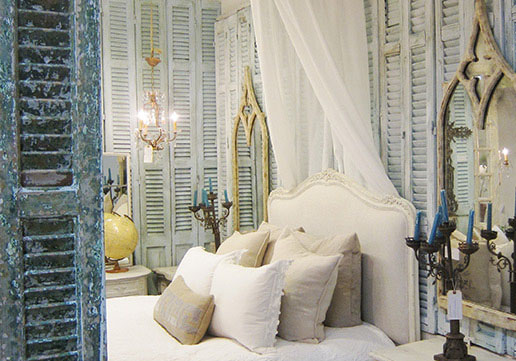 French style furniture, mirrors and lighting.